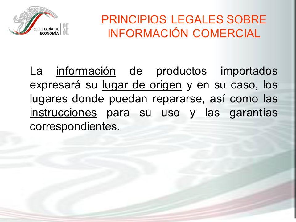 La información de productos importados expresará su lugar de origen y en su caso, los lugares donde puedan repararse, así como las instrucciones para