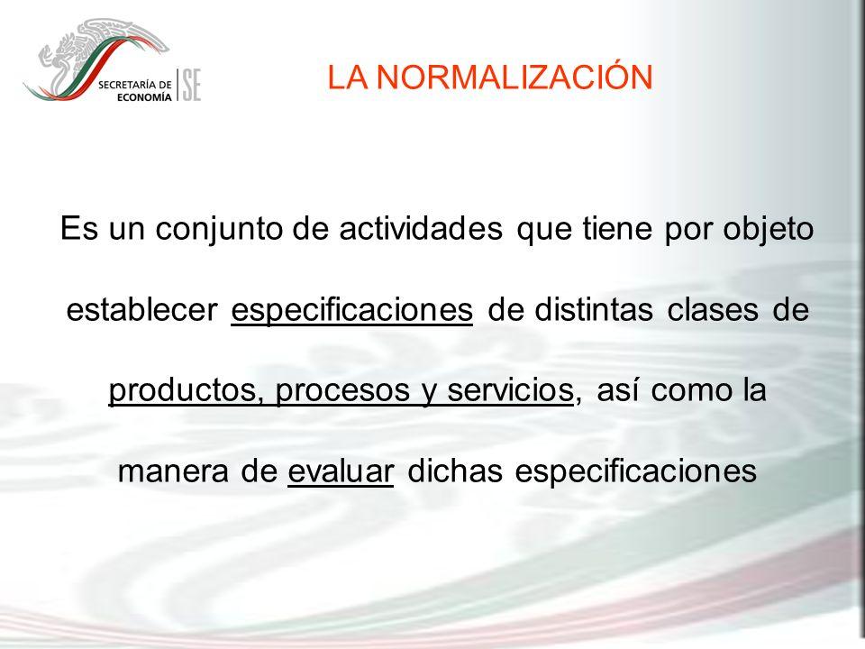 Es un conjunto de actividades que tiene por objeto establecer especificaciones de distintas clases de productos, procesos y servicios, así como la man