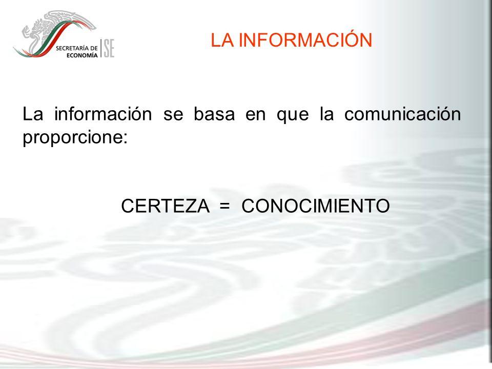 La información se basa en que la comunicación proporcione: CERTEZA = CONOCIMIENTO LA INFORMACIÓN