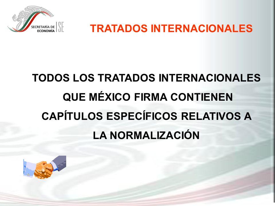 TRATADOS INTERNACIONALES TODOS LOS TRATADOS INTERNACIONALES QUE MÉXICO FIRMA CONTIENEN CAPÍTULOS ESPECÍFICOS RELATIVOS A LA NORMALIZACIÓN