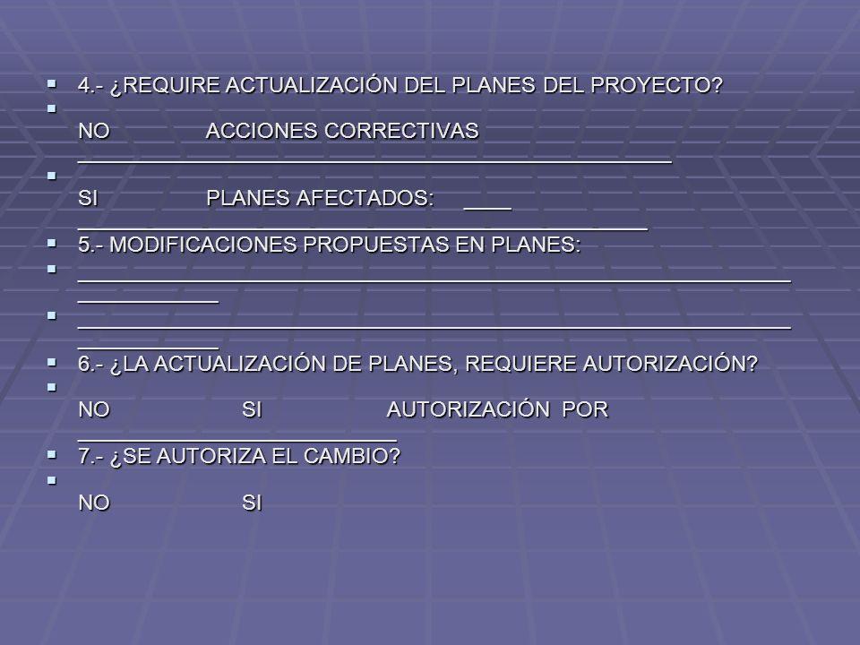 4.- ¿REQUIRE ACTUALIZACIÓN DEL PLANES DEL PROYECTO? 4.- ¿REQUIRE ACTUALIZACIÓN DEL PLANES DEL PROYECTO? NO ACCIONES CORRECTIVAS ______________________