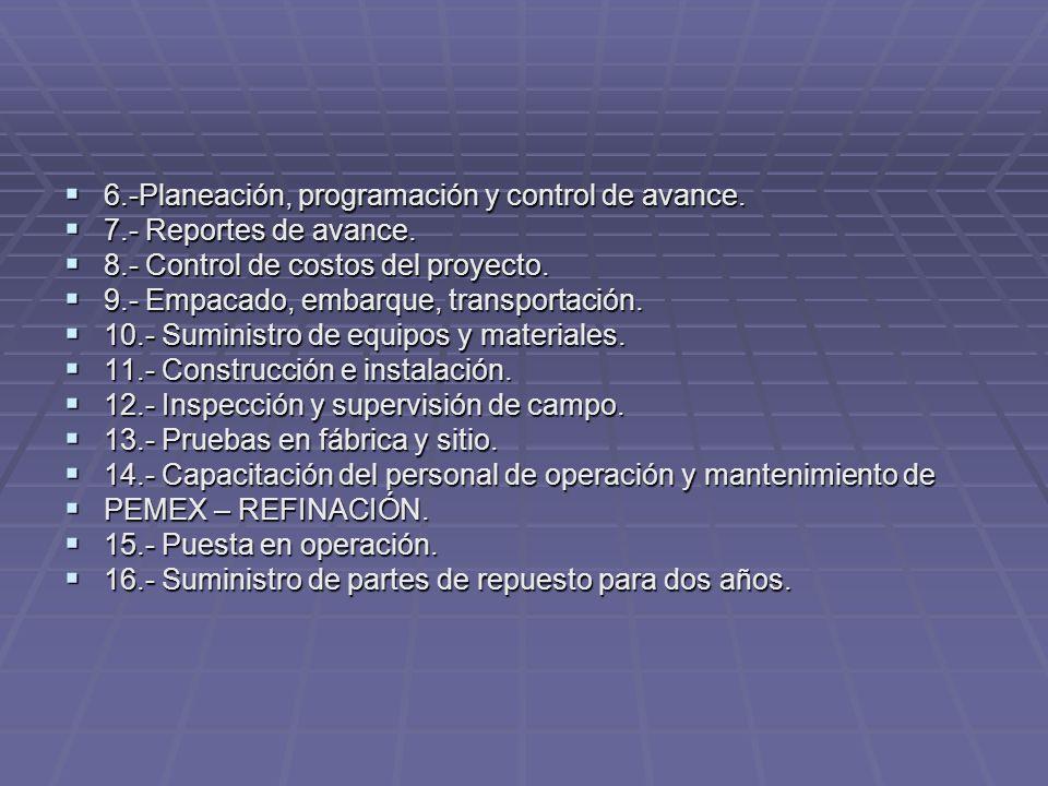 6.-Planeación, programación y control de avance. 6.-Planeación, programación y control de avance. 7.- Reportes de avance. 7.- Reportes de avance. 8.-