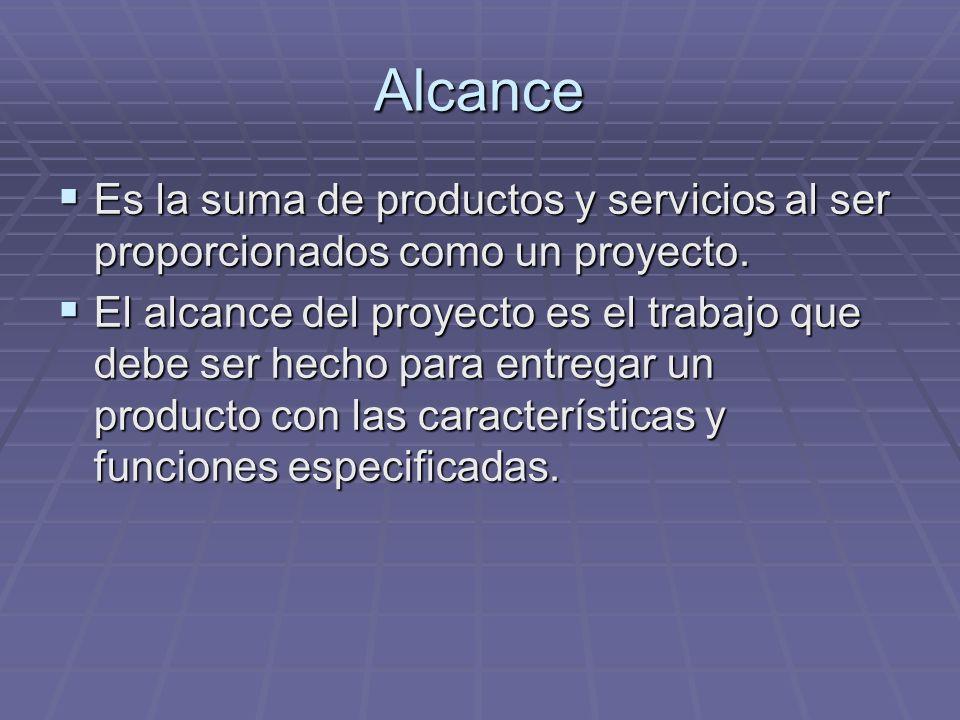 Alcance Es la suma de productos y servicios al ser proporcionados como un proyecto. Es la suma de productos y servicios al ser proporcionados como un