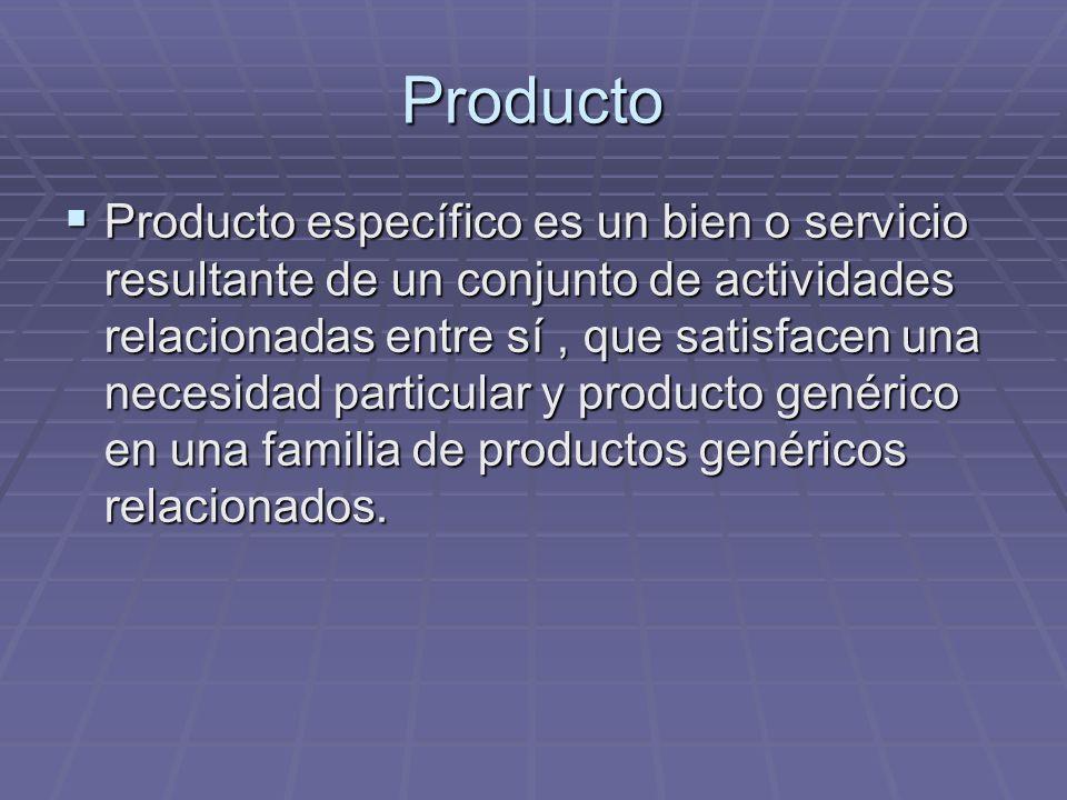 Producto Producto específico es un bien o servicio resultante de un conjunto de actividades relacionadas entre sí, que satisfacen una necesidad partic