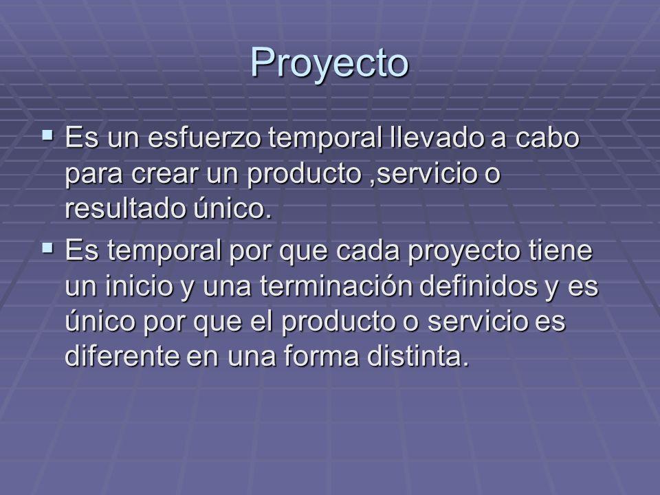 Proyecto Es un esfuerzo temporal llevado a cabo para crear un producto,servicio o resultado único. Es un esfuerzo temporal llevado a cabo para crear u