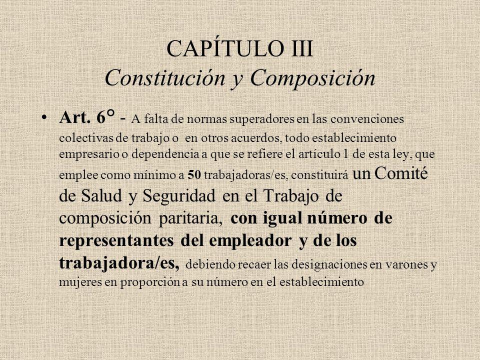 CAPÍTULO III Constitución y Composición Art. 6° - A falta de normas superadores en las convenciones colectivas de trabajo o  en otros acuerdos, todo