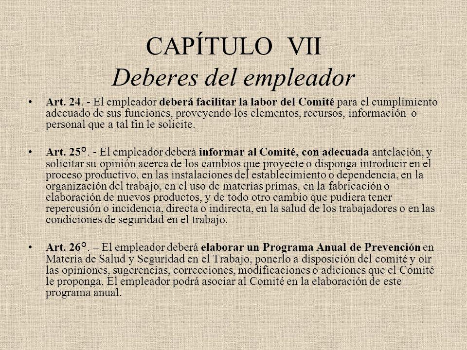 CAPÍTULO VII Deberes del empleador Art. 24. - El empleador deberá facilitar la labor del Comité para el cumplimiento adecuado de sus funciones, provey