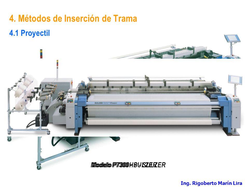 4. Métodos de Inserción de Trama Modelo P7300 - SULZER 4.1 Proyectil Modelo P7300HP - SULZER Ing. Rigoberto Marín Lira