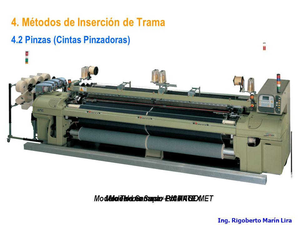 4. Métodos de Inserción de Trama Modelo Gamma - PICANOL 4.2 Pinzas (Cintas Pinzadoras) Modelo Leonardo - VAMATEXModelo Thema Super Excel - SOMET Ing.