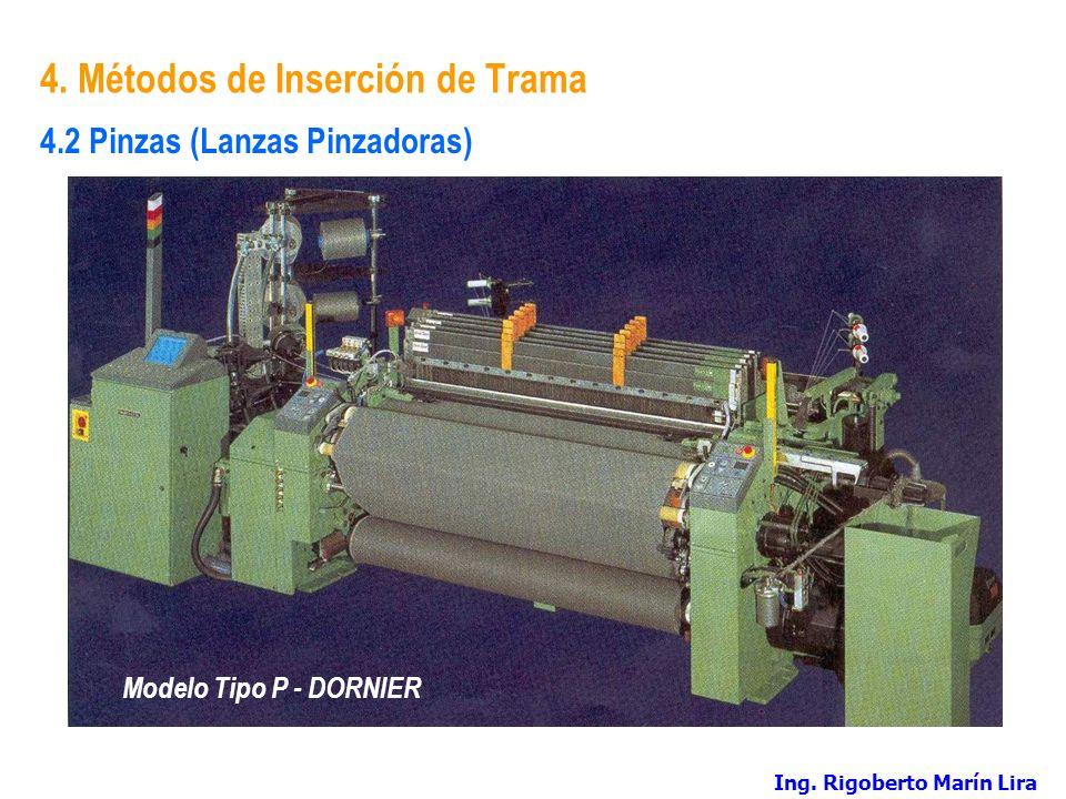 4. Métodos de Inserción de Trama Modelo Tipo P - DORNIER 4.2 Pinzas (Lanzas Pinzadoras) Ing. Rigoberto Marín Lira