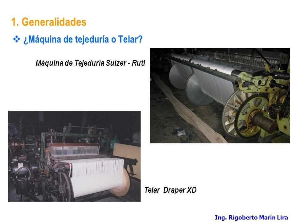 1. Generalidades ¿Máquina de tejeduría o Telar? Telar Draper XD Máquina de Tejeduría Sulzer - Ruti Ing. Rigoberto Marín Lira