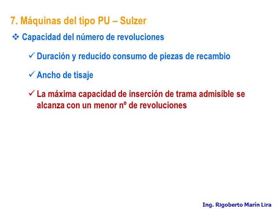 7. Máquinas del tipo PU – Sulzer Capacidad del número de revoluciones Duración y reducido consumo de piezas de recambio Ancho de tisaje La máxima capa