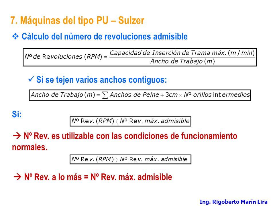 7. Máquinas del tipo PU – Sulzer Cálculo del número de revoluciones admisible Si se tejen varios anchos contiguos: Si: Nº Rev. es utilizable con las c