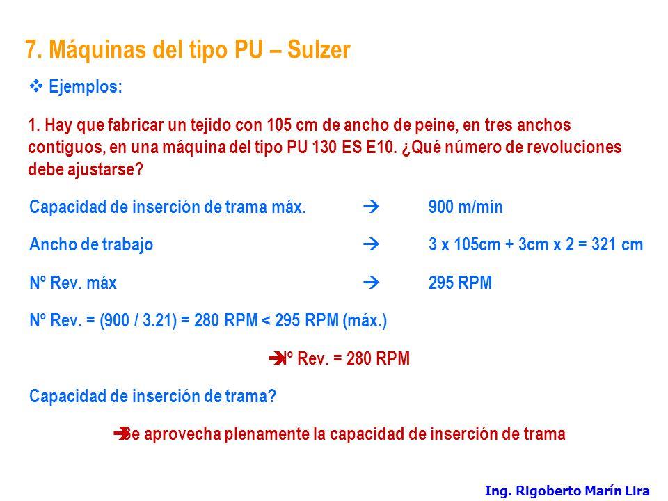7. Máquinas del tipo PU – Sulzer Ejemplos: 1. Hay que fabricar un tejido con 105 cm de ancho de peine, en tres anchos contiguos, en una máquina del ti