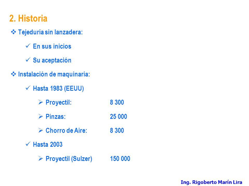 2. Historia Tejeduría sin lanzadera: En sus inicios Su aceptación Instalación de maquinaria: Hasta 1983 (EEUU) Proyectil:8 300 Pinzas:25 000 Chorro de