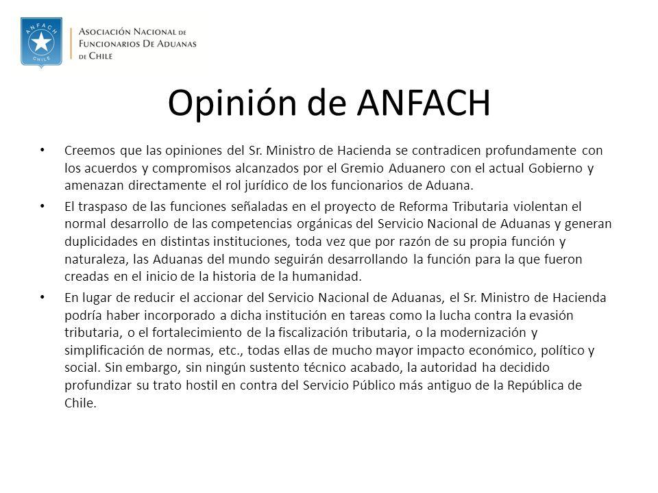 Opinión de ANFACH Creemos que las opiniones del Sr.