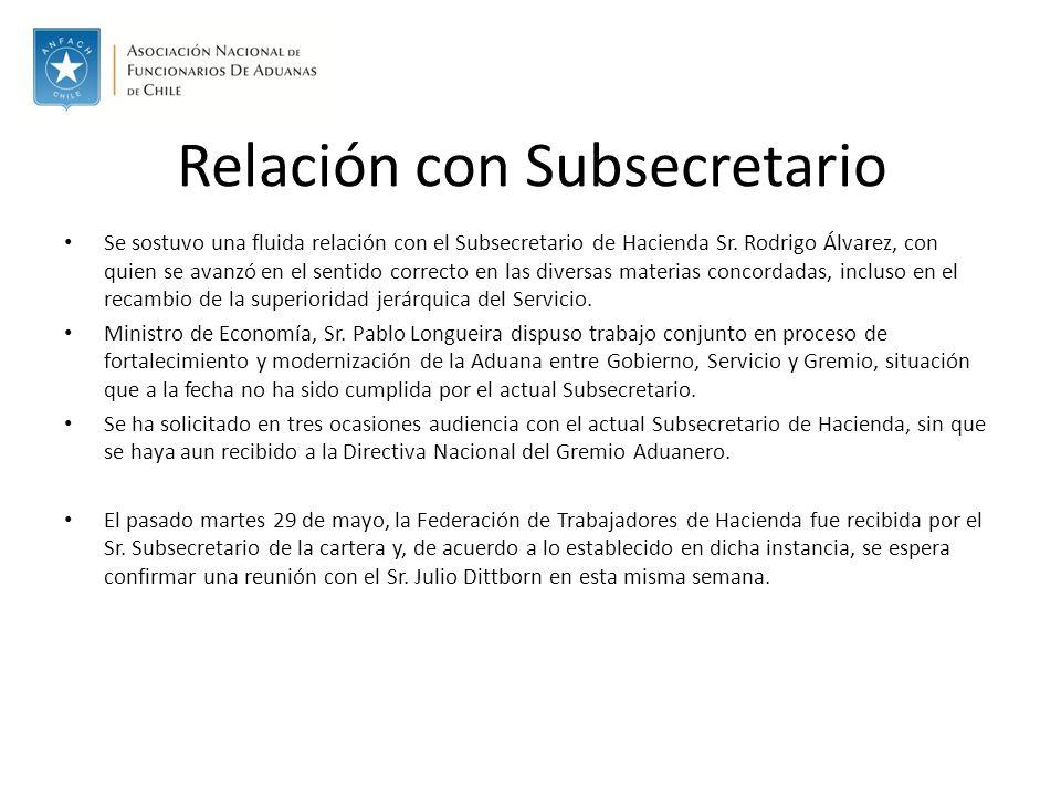 Relación con Subsecretario Se sostuvo una fluida relación con el Subsecretario de Hacienda Sr.