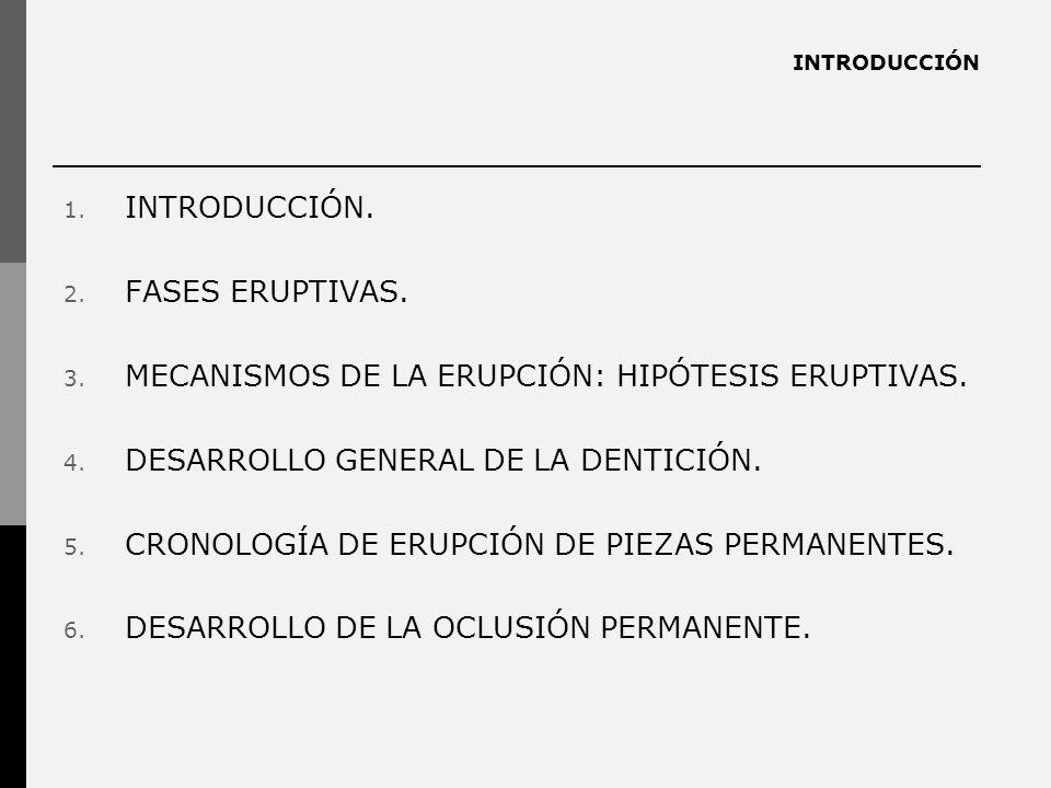 INTRODUCCIÓN 1. INTRODUCCIÓN. 2. FASES ERUPTIVAS. 3. MECANISMOS DE LA ERUPCIÓN: HIPÓTESIS ERUPTIVAS. 4. DESARROLLO GENERAL DE LA DENTICIÓN. 5. CRONOLO