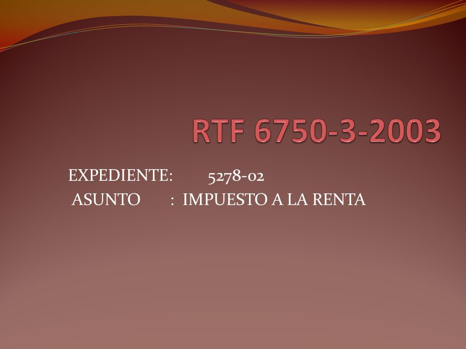 RESOLUCIÓN DEL TRIBUNAL FISCAL Nº06750-3-2003 1.