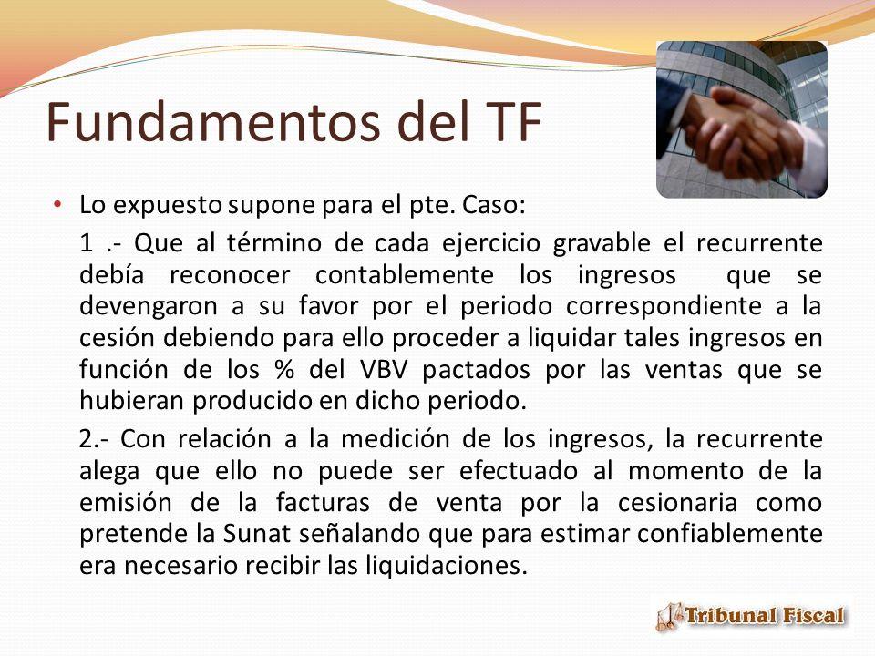 Fundamentos del TF Lo expuesto supone para el pte.