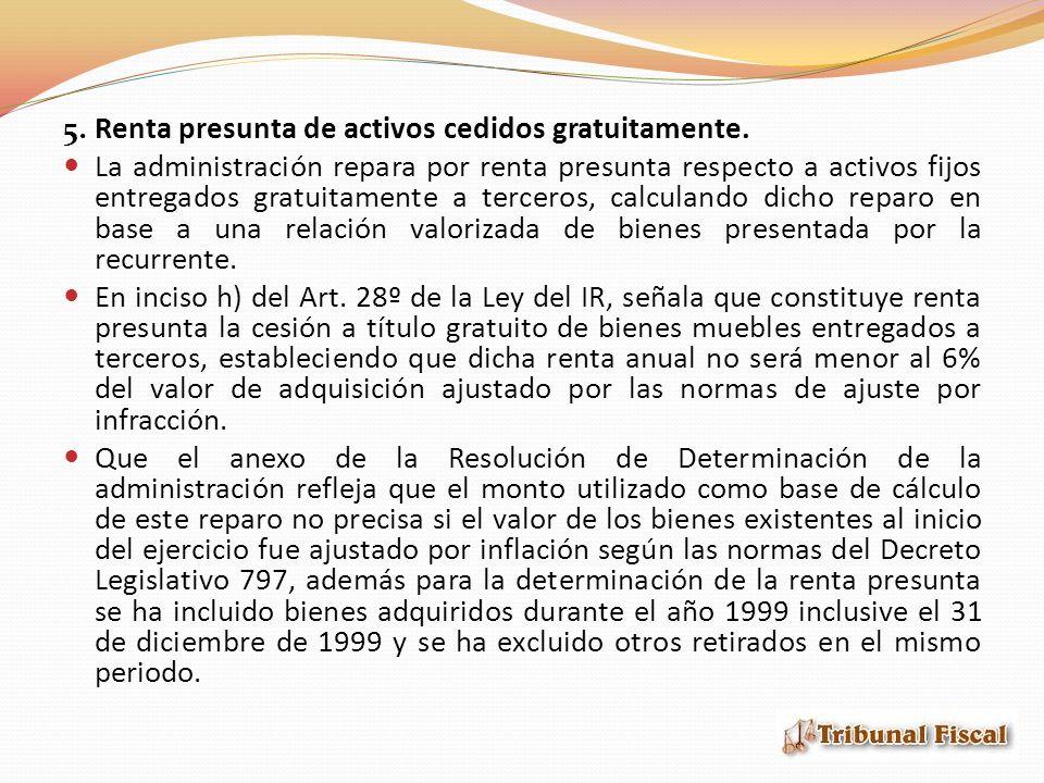 5.Renta presunta de activos cedidos gratuitamente.