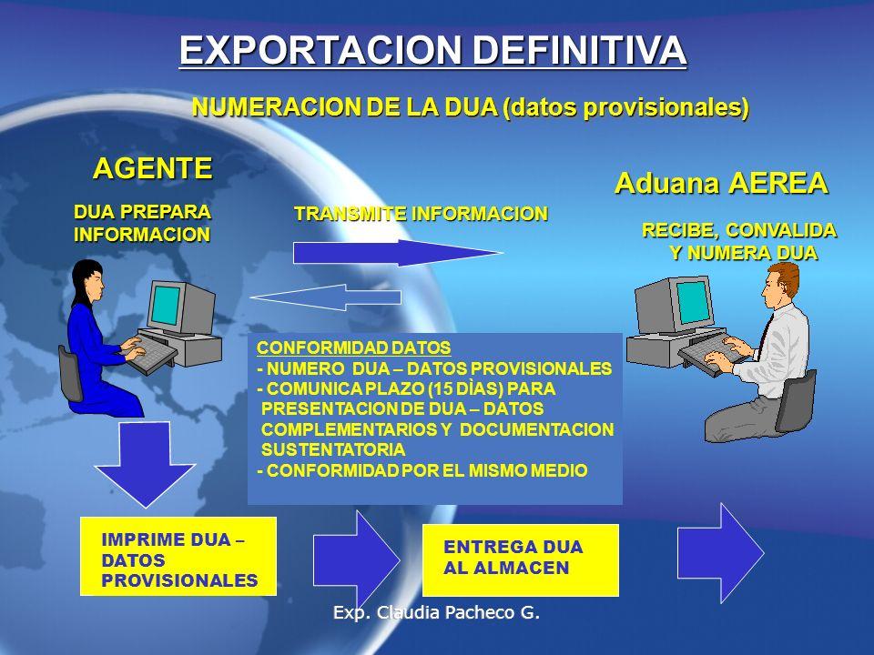 NUMERACION DE LA DUA (datos provisionales) AGENTE DUA PREPARA INFORMACION TRANSMITE INFORMACION Aduana AEREA RECIBE, CONVALIDA Y NUMERA DUA CONFORMIDAD DATOS - NUMERO DUA – DATOS PROVISIONALES - COMUNICA PLAZO (15 DÌAS) PARA PRESENTACION DE DUA – DATOS COMPLEMENTARIOS Y DOCUMENTACION SUSTENTATORIA - CONFORMIDAD POR EL MISMO MEDIO IMPRIME DUA – DATOS PROVISIONALES ENTREGA DUA AL ALMACEN EXPORTACION DEFINITIVA Exp.