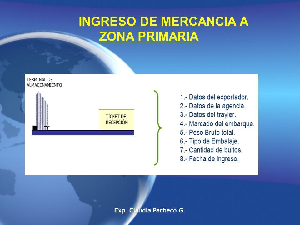 INGRESO DE MERCANCIA A ZONA PRIMARIA Exp. Claudia Pacheco G.