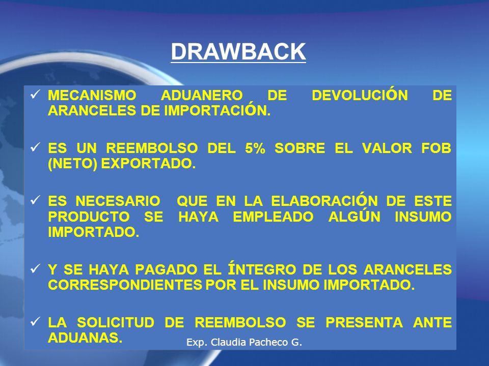 DRAWBACK MECANISMO ADUANERO DE DEVOLUCI Ó N DE ARANCELES DE IMPORTACI Ó N.