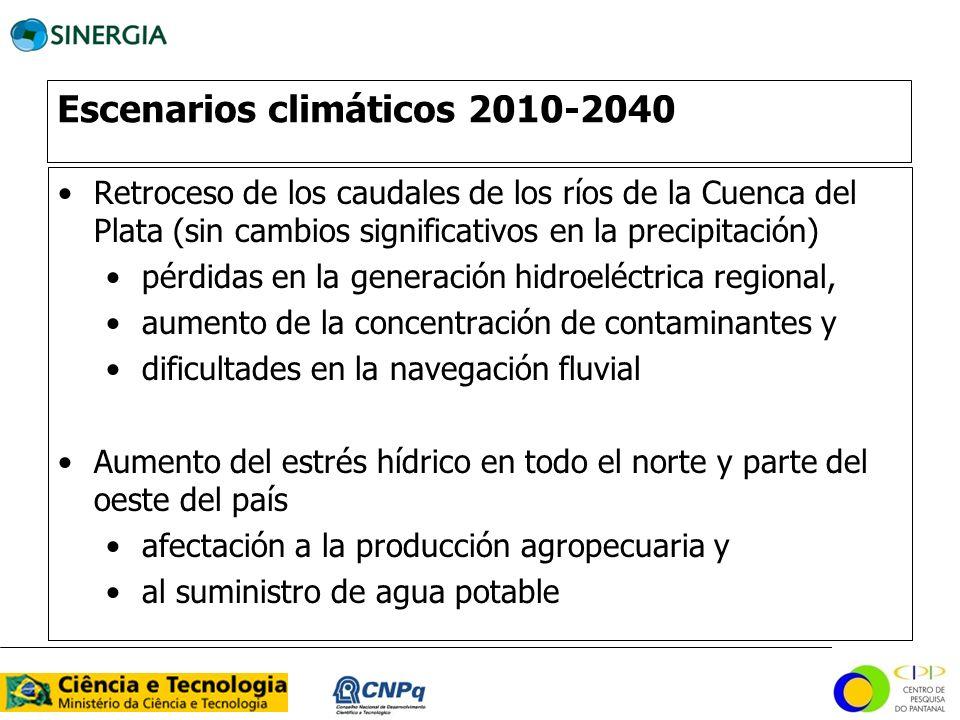 Escenarios climáticos 2010-2040 Retroceso de los caudales de los ríos de la Cuenca del Plata (sin cambios significativos en la precipitación) pérdidas