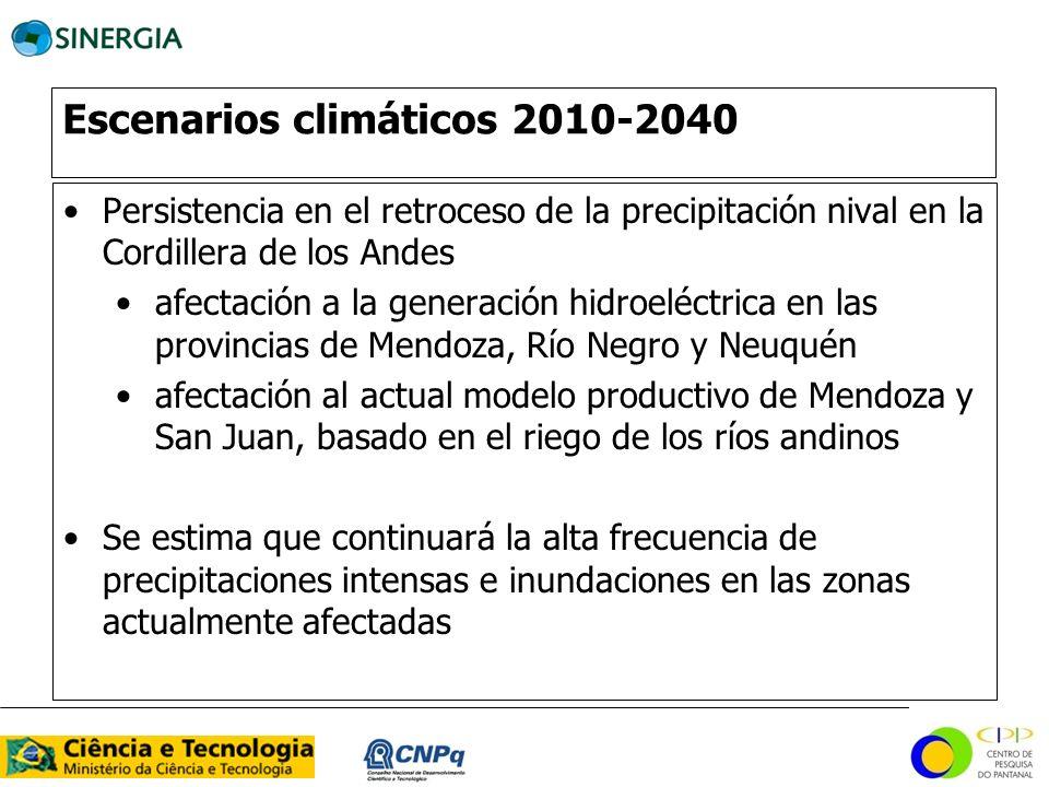 Escenarios climáticos 2010-2040 Persistencia en el retroceso de la precipitación nival en la Cordillera de los Andes afectación a la generación hidroe