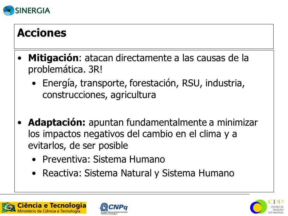 Acciones Mitigación: atacan directamente a las causas de la problemática. 3R! Energía, transporte, forestación, RSU, industria, construcciones, agricu
