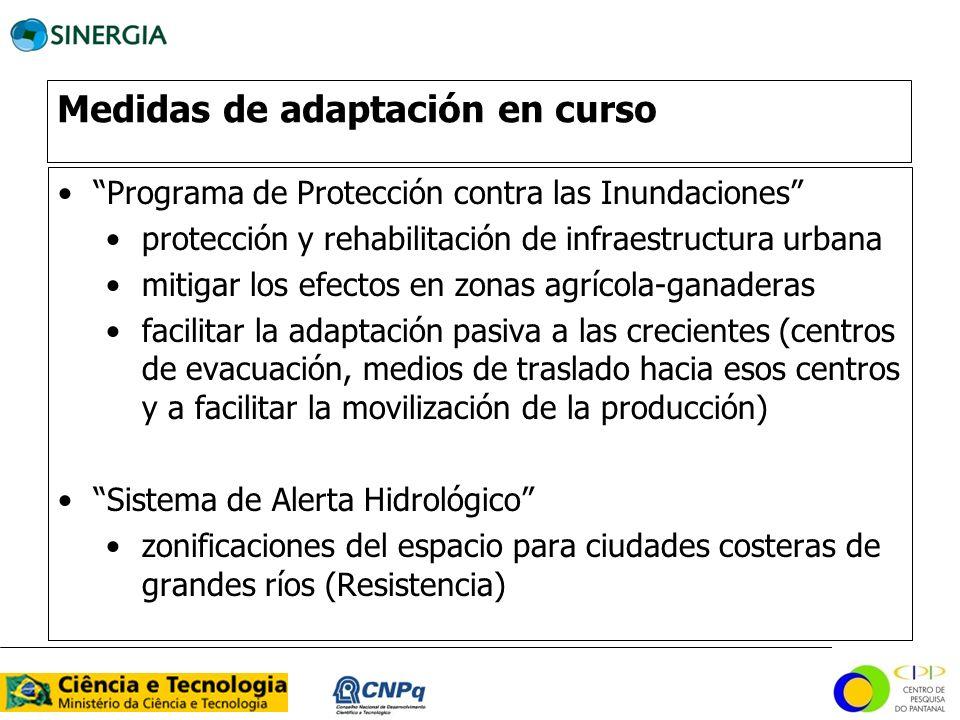 Medidas de adaptación en curso Programa de Protección contra las Inundaciones protección y rehabilitación de infraestructura urbana mitigar los efecto