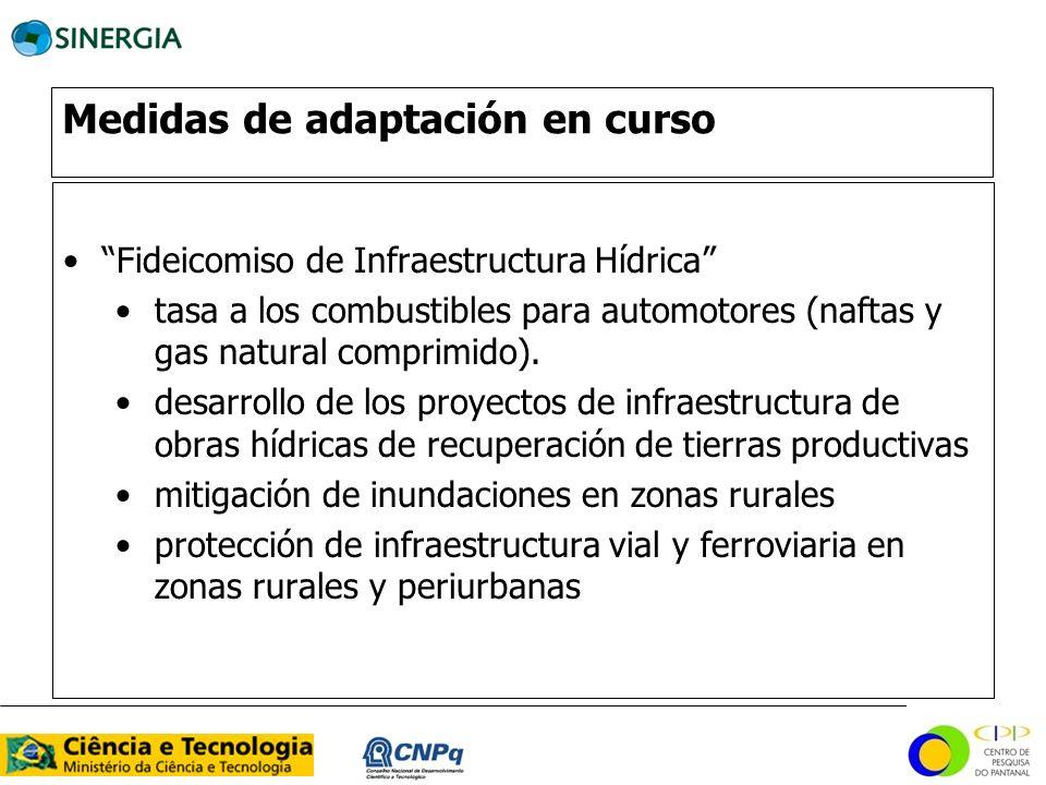 Medidas de adaptación en curso Fideicomiso de Infraestructura Hídrica tasa a los combustibles para automotores (naftas y gas natural comprimido). desa