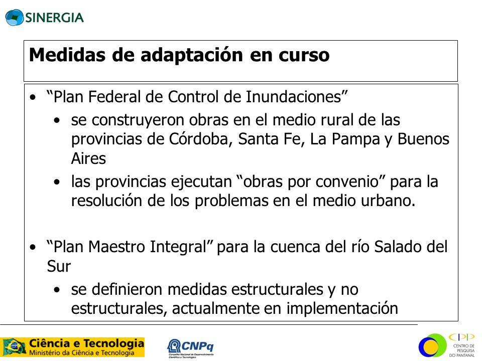 Medidas de adaptación en curso Plan Federal de Control de Inundaciones se construyeron obras en el medio rural de las provincias de Córdoba, Santa Fe,