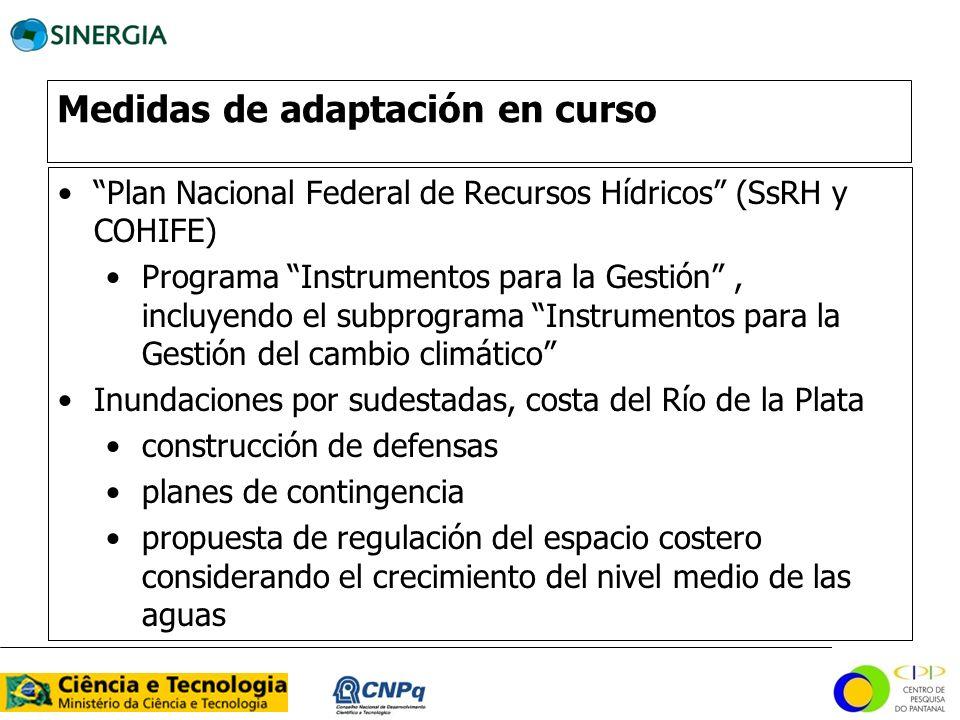 Medidas de adaptación en curso Plan Nacional Federal de Recursos Hídricos (SsRH y COHIFE) Programa Instrumentos para la Gestión, incluyendo el subprog