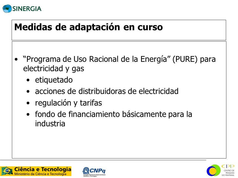 Medidas de adaptación en curso Programa de Uso Racional de la Energía (PURE) para electricidad y gas etiquetado acciones de distribuidoras de electric