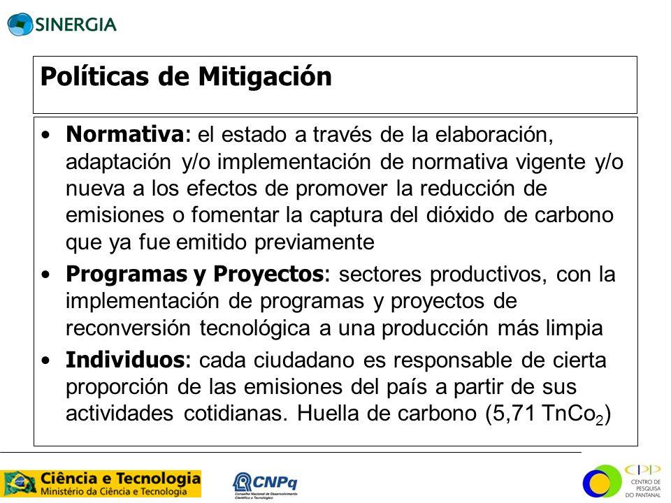 Políticas de Mitigación Normativa: el estado a través de la elaboración, adaptación y/o implementación de normativa vigente y/o nueva a los efectos de