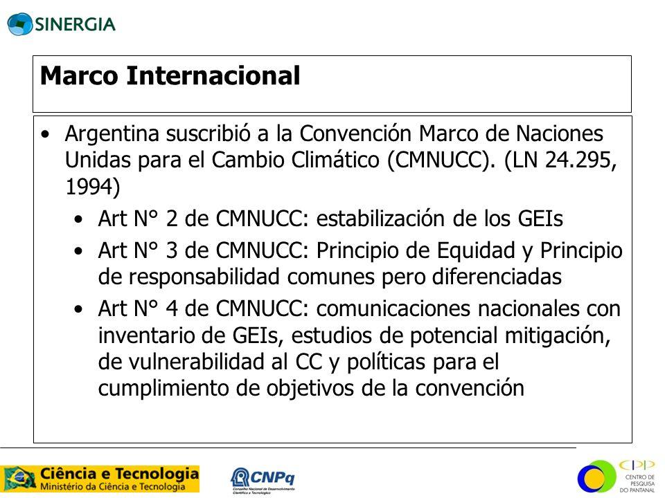 Marco Internacional Argentina suscribió a la Convención Marco de Naciones Unidas para el Cambio Climático (CMNUCC). (LN 24.295, 1994) Art N° 2 de CMNU