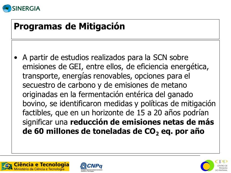 A partir de estudios realizados para la SCN sobre emisiones de GEI, entre ellos, de eficiencia energética, transporte, energías renovables, opciones p