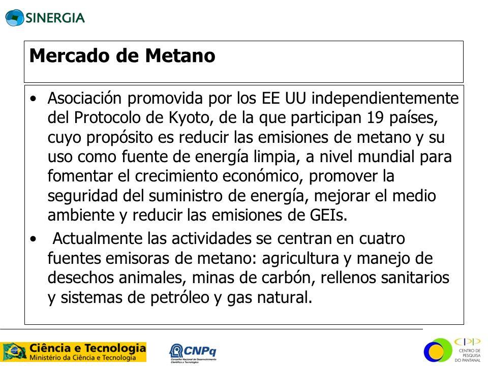 Mercado de Metano Asociación promovida por los EE UU independientemente del Protocolo de Kyoto, de la que participan 19 países, cuyo propósito es redu