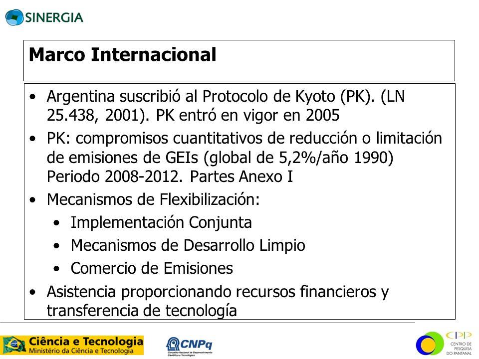 Marco Internacional Argentina suscribió al Protocolo de Kyoto (PK). (LN 25.438, 2001). PK entró en vigor en 2005 PK: compromisos cuantitativos de redu