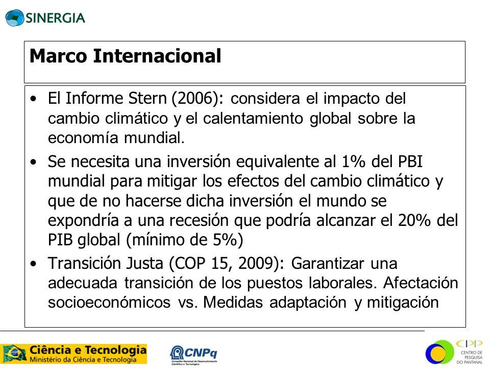 Marco Internacional El Informe Stern (2006): considera el impacto del cambio climático y el calentamiento global sobre la economía mundial. Se necesit