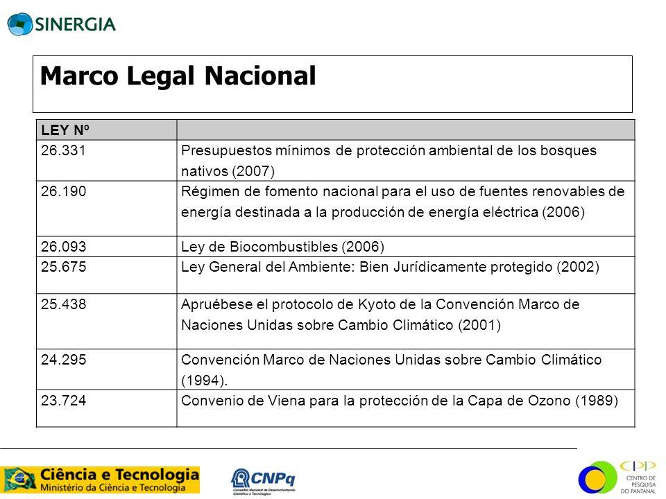Marco Legal Nacional LEY Nº 26.331 Presupuestos mínimos de protección ambiental de los bosques nativos (2007) 26.190 Régimen de fomento nacional para
