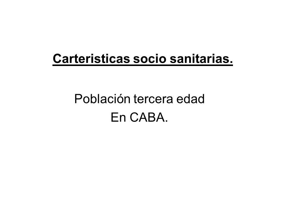 Carteristicas socio sanitarias. Población tercera edad En CABA.