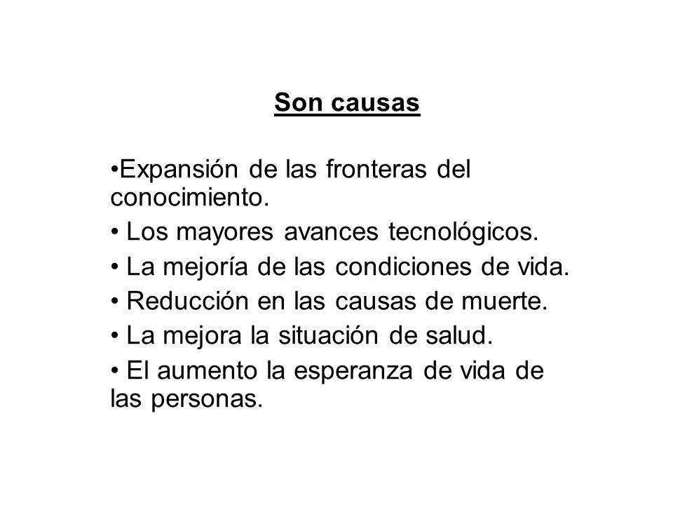 Son causas Expansión de las fronteras del conocimiento.