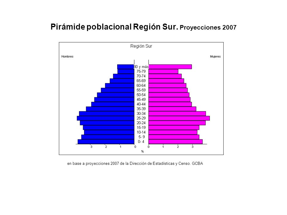 Pirámide poblacional Región Sur.