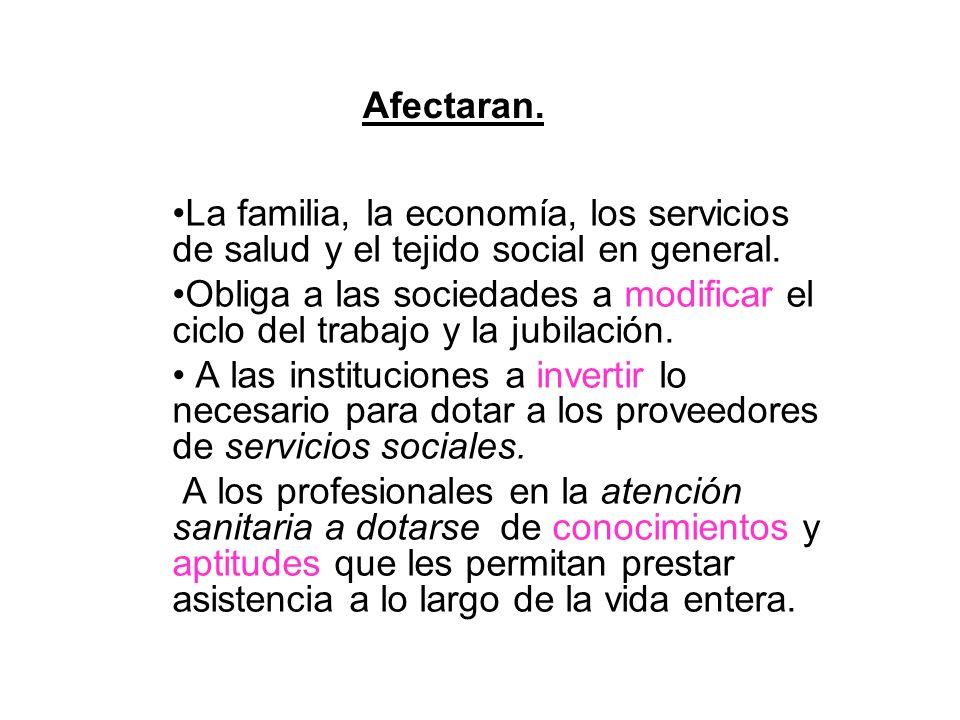 Afectaran.La familia, la economía, los servicios de salud y el tejido social en general.