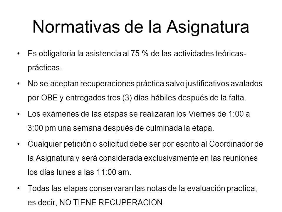 Normativas de la Asignatura Es obligatoria la asistencia al 75 % de las actividades teóricas- prácticas. No se aceptan recuperaciones práctica salvo j