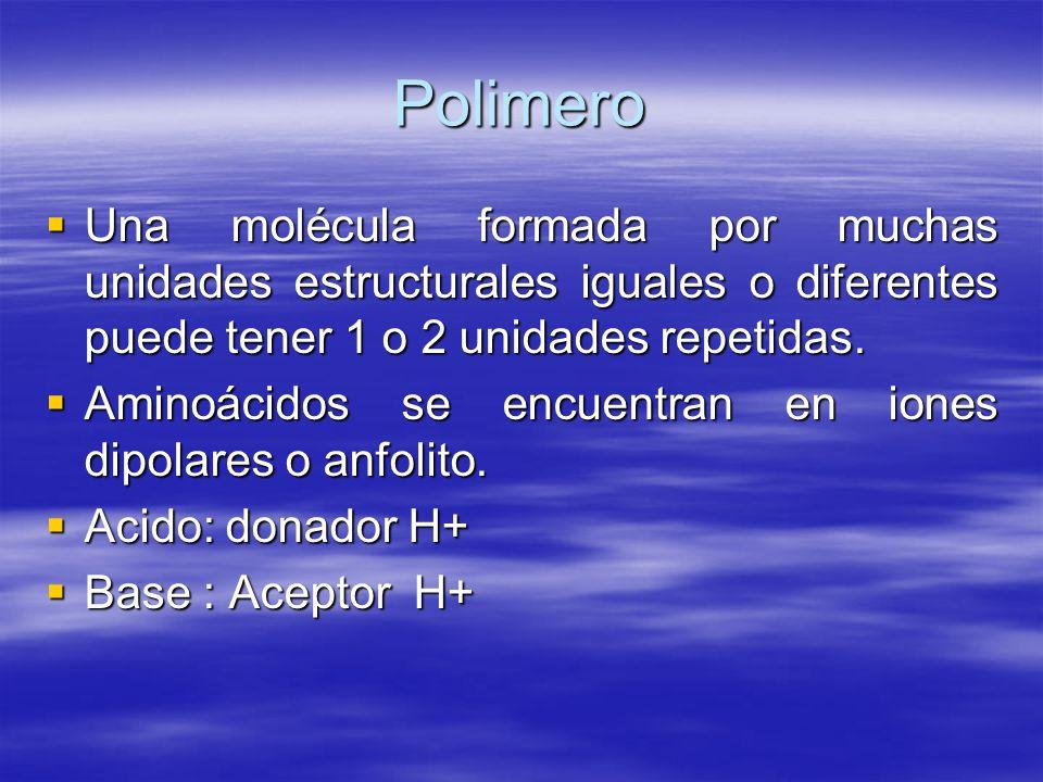 Polimero Una molécula formada por muchas unidades estructurales iguales o diferentes puede tener 1 o 2 unidades repetidas. Una molécula formada por mu