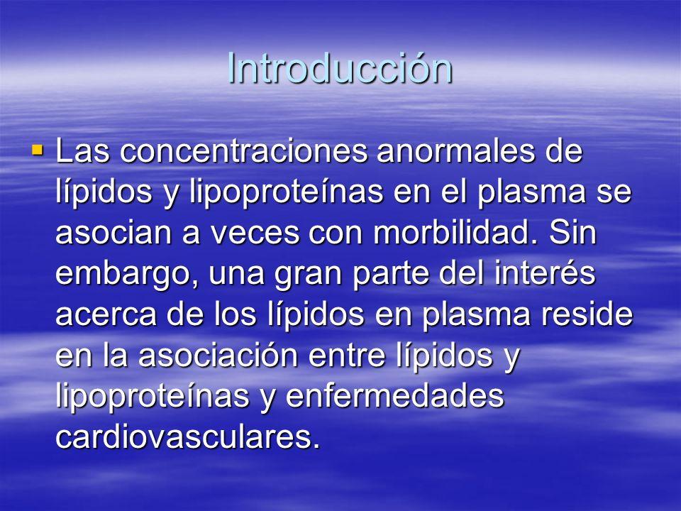 Introducción Las concentraciones anormales de lípidos y lipoproteínas en el plasma se asocian a veces con morbilidad. Sin embargo, una gran parte del